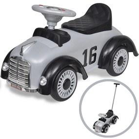 vidaXL Sivé detské odrážacie autíčko s vodiacou tyčou v štýle retro