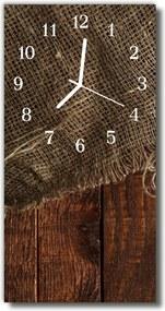 Sklenené hodiny vertikálne  Vintage plátno hnedé drevo