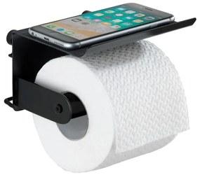Čierny nástenný držiak na toaletný papier s podložkou na mobil Wenko Classic Plus