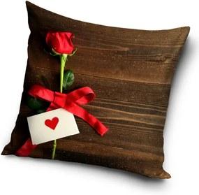 Tiptrade Vankúšik Ruže pre Teba hnedá, 40 x 40 cm