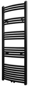 vidaXL Čierny rebríkový radiátor na centrálne vykurovanie, zaoblený 500 x 1424 mm