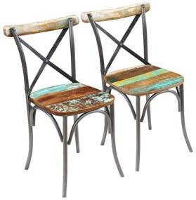 243722 vidaXL Jedálenské stoličky z masívneho recyklovaného dreva, 2 ks, 51x52x84 cm