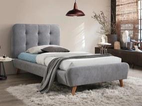 Sivá čalúnená posteľ TIFFANY 90 x 200 cm Matrac: Matrac COCO MAXI 23 cm