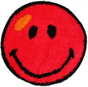 Kusový koberec Shaggy vlas 30mm Smile červený, Velikosti 100x100cm