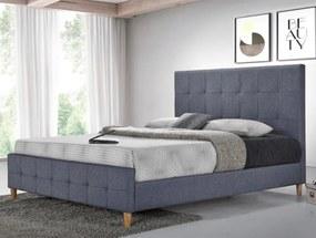 Manželská posteľ BALDER 160x200 cm sivá Matrac: Bez matrace