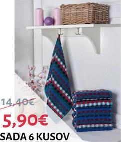 Sada farebných bavlnených uterákov 6 ks 50x70 cm