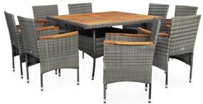 vidaXL 9-dielna vonkajšia jedálenská súprava sivá polyratan a akáciové drevo