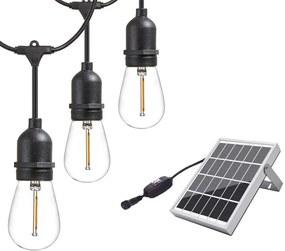 BEZDOTEKU LEDSolar 10 solárne reťaz s žiarovkami, 10x E27 LED žiarovky, IPRO, 6W, teplá farba