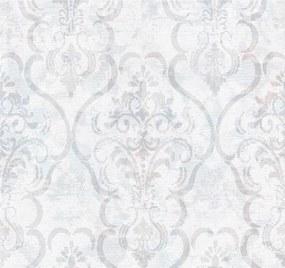 Vliesové tapety, zámocký vzor svetlo modro-hnedý na bielom podklade, Guido Maria Kretschmer 1336230, P+S International, rozmer 10,05 m x 0,53 m