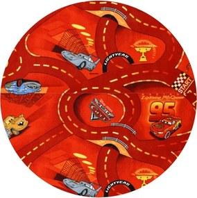 Vopi koberce Kusový koberec The World of Cars 10 červený kulatý - 120x120 (průměr) kruh cm
