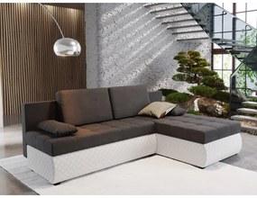 Rohová rozkladacia sedačka BORIS 1 - sivá / biela