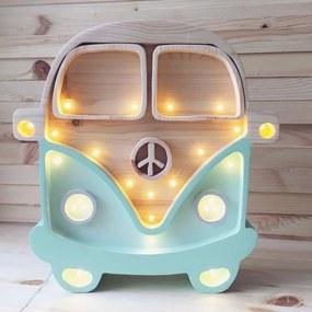 Little Lights Detská LED lampička Camper Van Mint/Wood