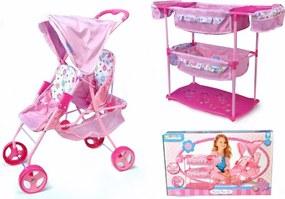 Hauck Súprava pre bábiky dvojčatá kočík + postieľka + stolička