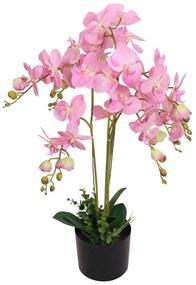 vidaXL Umelá rastlina, orchidea s kvetináčom 75 cm, ružová