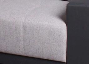 Rohová sedacia súprava Lorenzo L, šedá ekokoža/sivá tkanina