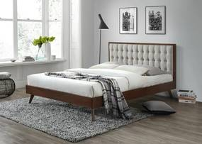 HALMAR Solomo 160 manželská posteľ s roštom orech / béžová