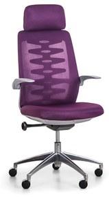 Kancelárska stolička so sieťovaným operadlom SITTA GREY, fialová