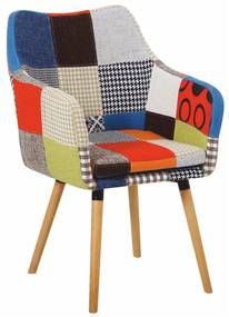 Kreslo, farebný patchwork/buk, LANDOR