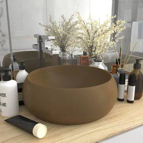 vidaXL Luxusné umývadlo, okrúhle, matné krémové 40x15 cm, keramika