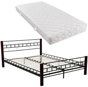 vidaXL Čierna a červenohnedá kovová posteľ, 180 x 200 cm, s matracom
