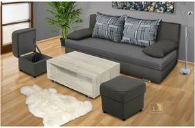 Rozkladacia pohovka s )ložným priestorom Avenue + stolík + 2 taburety farba čalounění: eko kůže šedá/šedá