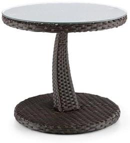 Tabula, odkladací stolík, 50 cm, sklo, polyratan, hliník, dvojfarebný hnedý