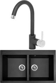 SINKS Set Amanda 860 Duo + Mix 35 , metalblack