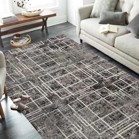 DomTextilu Kvalitný sivý koberec s motívom štvorcov 38610-181326