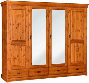 Šatníková skriňa Toskania 4D so zrkadlom a zásuvkami, medová, masív, borovica