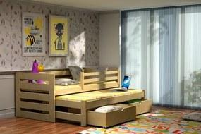 MAXMAX Detská posteľ s výsuvnou prístelkou z MASÍVU 180x80cm so zásuvkou - DPV007