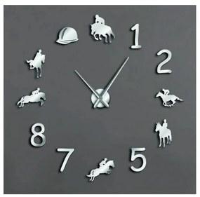 Sentop Moderné nástenné hodiny jazdec na koni ERÉNA SZ057 sivé