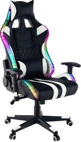 Kancelárske/herné kreslo s RGB podsvietením, čierna/biela/farebný vzor, ZOPA