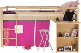 Posteľ s PC stolom ALZENA prírodná / ružová