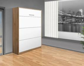 Nabytekmorava Sklápacia posteľ VS 1054 P - 200x160 cm A nosnost postele: štandardná nosnosť, farba lamina: orech lyon/biele dvere