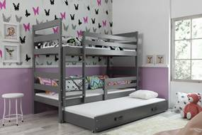 BMS Group Poschodová posteľ s prístelkou ERIK - s úložným priestorom - pre troch - GRAFIT