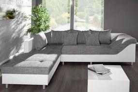 Bighome - Rohová sedacia súprava PUEBLO OT vľavo - biela,sivá