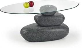 HALMAR Flavia sklenený konferenčný stolík grafit lesk / priehľadná
