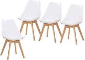 Jedálenské stoličky SCANDI biele 4 ks - škandinávsky štýl