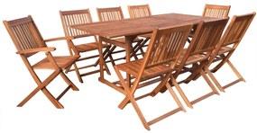 vidaXL 9-dielna záhradná jedálenská súprava masívne akáciové drevo