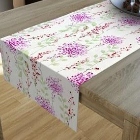 Goldea dekoračný behúň na stôl loneta - vzor maľované ružové kvety 20x120 cm