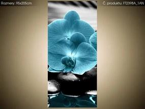 Fototapeta Tyrkysová orchidea a kamene 95x205cm S-FT2398A_1AN(S