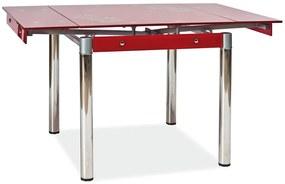SIGNAL GD-082 jedálenský stôl chrómová / priehľadná / červená