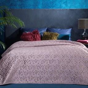 Ružový zamatový prehoz na posteľ VALERIA 220x240 cm
