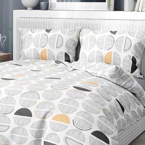 Goldea flanelové posteľné obliečky - vzor 981 sivo-oranžové pruhované kruhy na bielom 140 x 220 a 70 x 90 cm