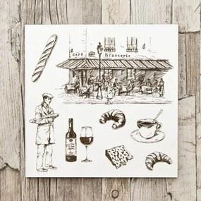 Drevený obraz do reštaurácie - Francúzska kaviareň
