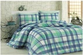 8c1e1d080 Zeleno-modré bavlnené obliečky s plachtou na dvojlôžko Fantasia, 200 x 220  cm
