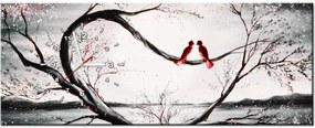 Tlačený obraz s hodinami Vtáčia láska 100x40cm S-ZP2527A_1I(P)