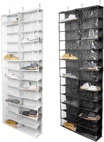 Závesný organizér obuvi, 160x55x16 cm - biely