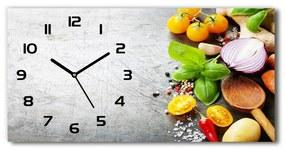 Moderné sklenené hodiny na stenu Zelenina pl_zsp_60x30_f_98382182