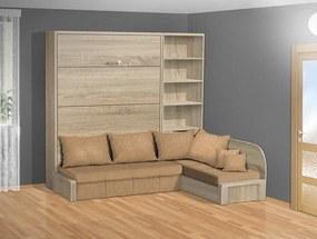 Nabytekmorava Sklápacia posteľ s rohovou pohovkou VS 3075P - 200x140 cm nosnost postele: štandardná nosnosť, farba lamina: dub sonoma 325, farba pohovky: nubuk 133 caramel